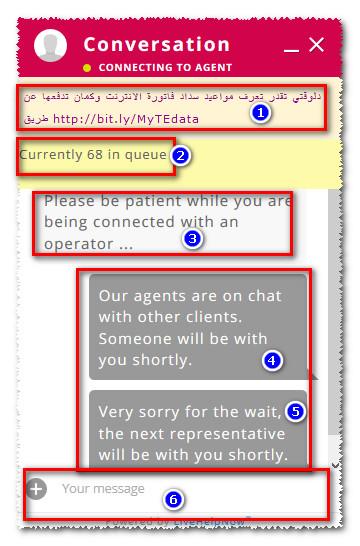 خدمة عملاء tedata chat