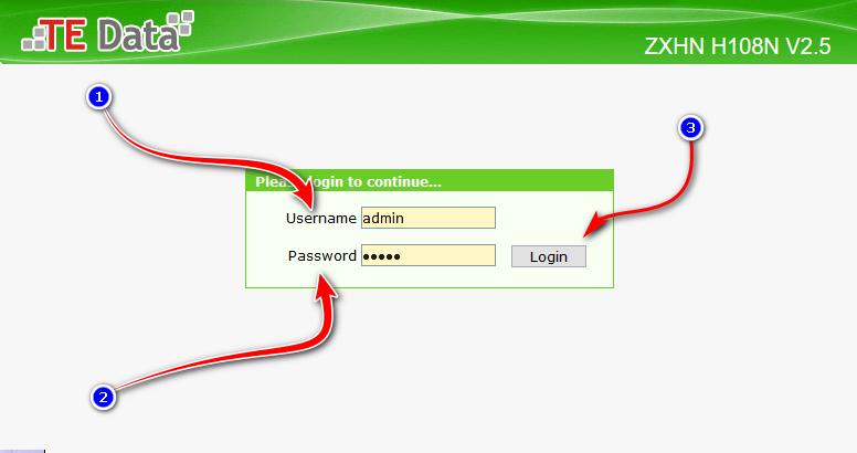 كيفية الدخول على الراوتر TE data
