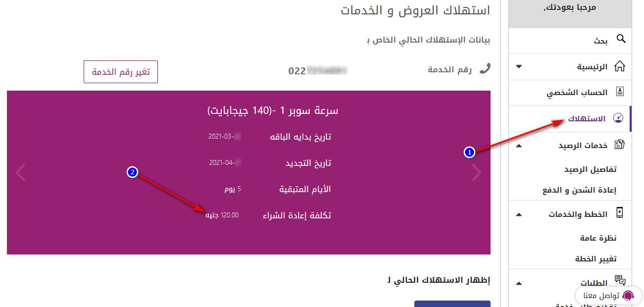 الاستعلام عن فاتورة النت we برقم التليفون